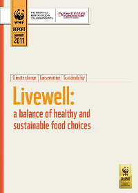 Front cover of the WWF report 'Livewell – a balance of healthy and sustainable food choices'