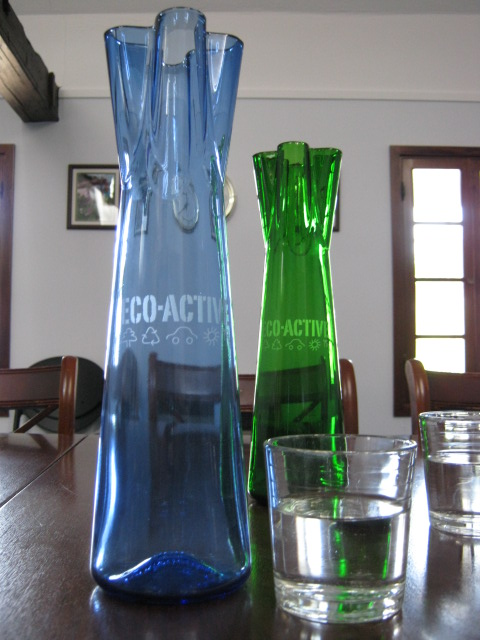 Beautiful glass water carafes promoted by Eco-Active to reduce the usage of bottled water in meetings and when dining