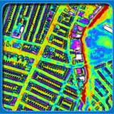 Aerial thermal image of some buildings